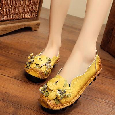 断码特价清仓处理真皮女士单鞋舒适软底妈妈鞋复古手工花朵女鞋子