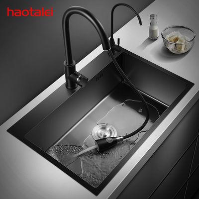 德国洗菜盆纳米单槽 304不锈钢厨房水槽家用黑色水池洗碗池单盆