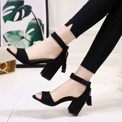 夏季新款女鞋粗跟高跟鞋女中跟一字扣带露齿凉鞋包跟后拉链罗马鞋