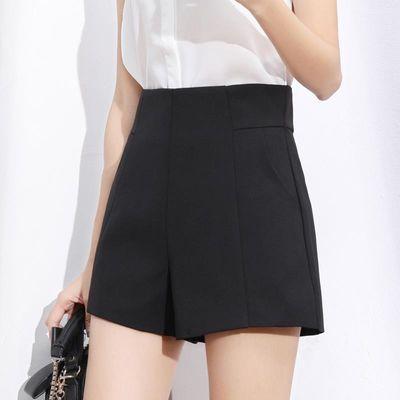 短裤女夏2020年新款超高腰a字雪纺黑色宽松阔腿显瘦西装外穿白色