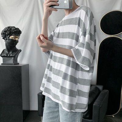 夏季条纹港风短袖T恤男韩版学生宽松百搭时尚五分袖情侣上衣ins潮