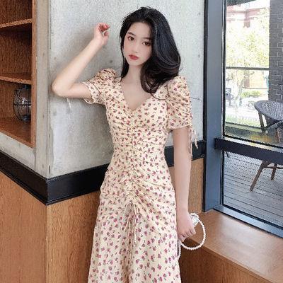 连衣裙2020新款裙子女学生韩款宽松显瘦气质收腰碎花短袖ins长裙