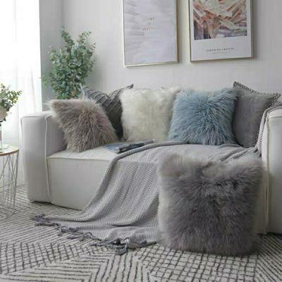 靠枕床头沙发靠垫抱枕女生欧式长毛绒抱枕ins礼物样板房靠枕饰品