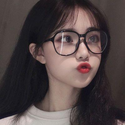 韩版眼镜框女潮网红倪妮同款素颜透明近视眼睛架大脸显瘦配有度数