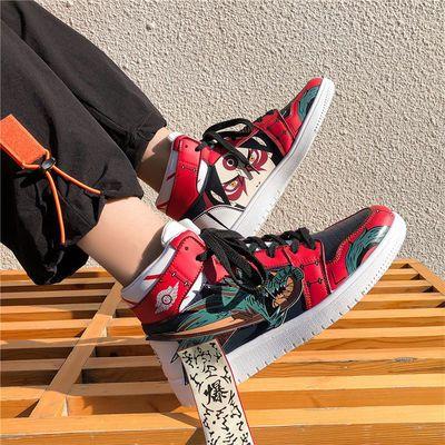 aj男鞋空军一号男士高帮鞋韩版学生火影印花潮流运动板鞋秋季新款