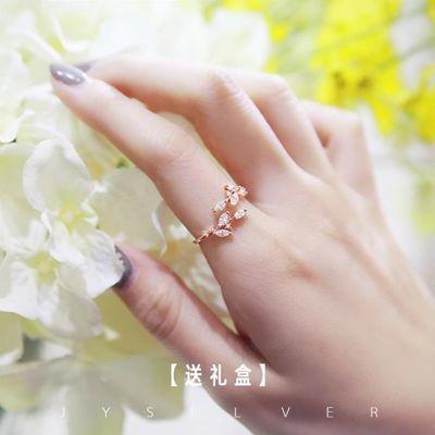 日系轻奢食指情侣戒指送女友女开口花朵时尚纯银个性女士小众设计