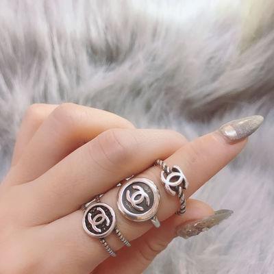 韩版东大门戒指s925银戒指小香风指环开口双c款女戒指抖音同款潮