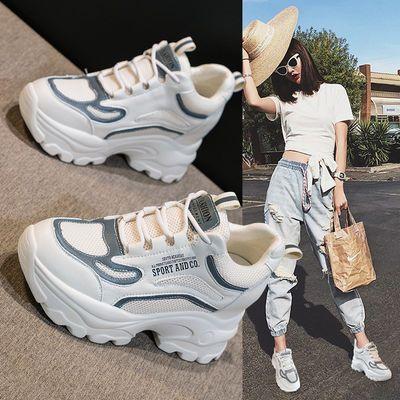 老爹女鞋2020春夏季新款潮鞋网面百搭爆款休闲运动内增高小白鞋