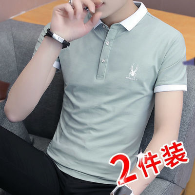 春夏男士T恤短袖polo衫男纯棉T恤男衬衫领修身上衣男装打底衫衣服