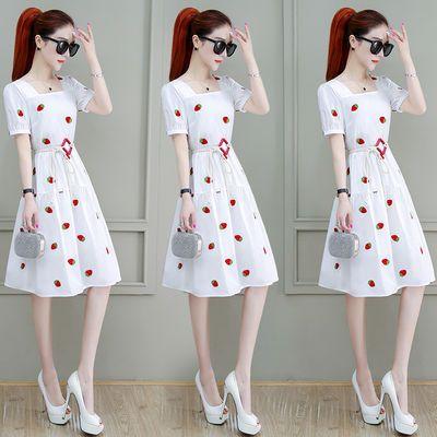 雪纺白色草莓碎花连衣裙女收腰显瘦泡泡短袖仙女超仙刺绣A字裙夏