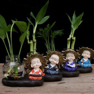 花瓶玻璃摆件装饰品客厅插花干花陶瓷小富贵竹水培植物花盆花器