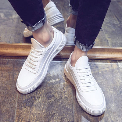 秋季男士小白鞋男学生韩版潮流百搭透气增高白色运动休闲板鞋子男