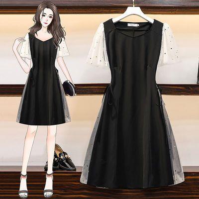连衣裙气质女神范衣服大码女装2020夏胖mm宽松显瘦网纱遮肚小黑裙