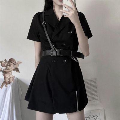 ins韩版夏季新款暗黑色双排扣别针网红西装短袖连衣裙送皮带女