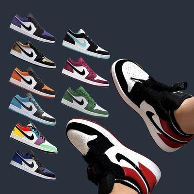 aj1倒钩低帮篮球鞋跑步鞋AJ黑红脚趾绿脚趾情侣板鞋男女运动鞋子