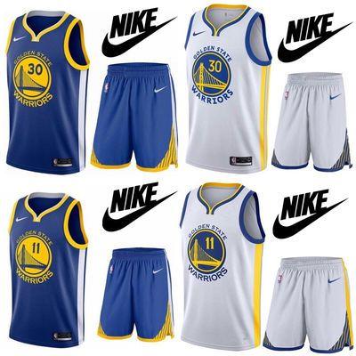 勇士队球衣库里30号11号汤普森篮球服套装杜兰特队服男女定制印号