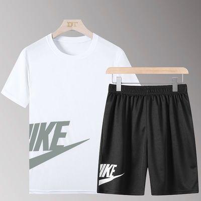 一套】男士短袖t恤运动套装潮牌潮流衣服夏季宽松打底衫半袖潮ins