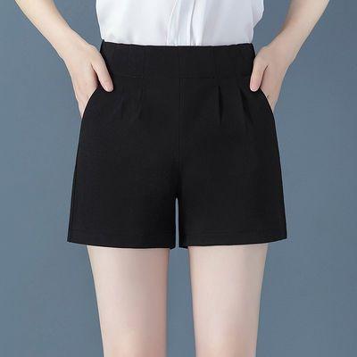 加肥加大码西装短裤女夏2020新款高腰黑色宽松显瘦休闲大码阔腿裤