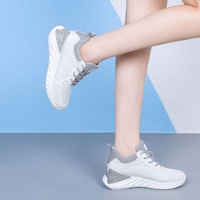内增高女鞋新款夏季网鞋透气网面厚底百搭小个子运动休闲小白鞋女