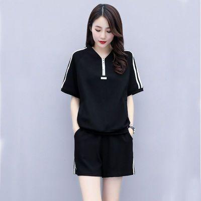 棉运动套装女夏短袖短裤两件套2020新款V领女士韩版休闲气质神范