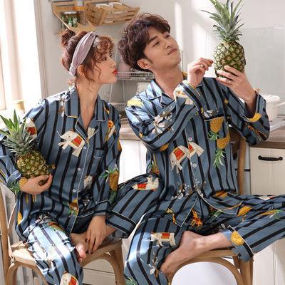 2套价夏季情侣睡衣女长短袖丝绸春秋冰丝家居服套装大码宽松睡衣