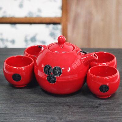 铁艺提梁精品陶瓷大肚壶茶具五件套装