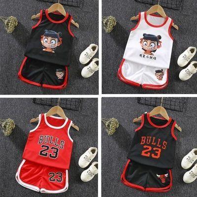 夏季男童无袖短裤背心篮球服两件套儿童套装女童速干运动服1-9岁