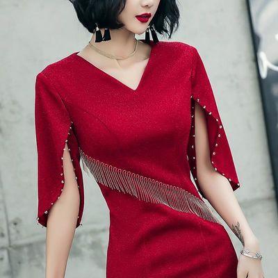 酒红色结婚敬酒服新娘女平时可穿显瘦主持晚礼服夏季性感修身短款