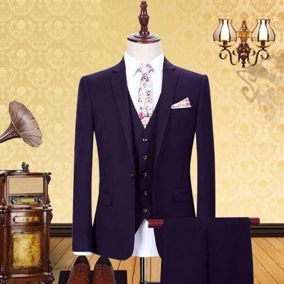 加绒加厚西装外套保暖男士西服套装修身新郎结婚商务职业正装冬季