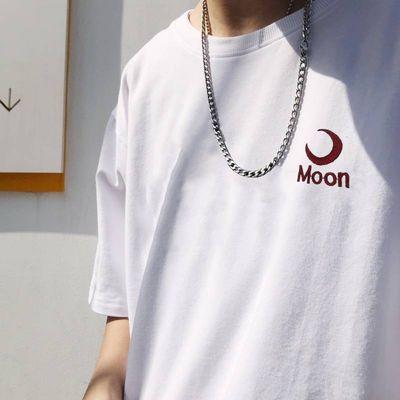 夏季男士白色短袖t恤男学生韩版文艺男青年潮流宽松刺绣上衣服男