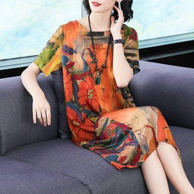 2020夏季新款女装大码印花连衣裙休闲宽松显瘦妈妈长款裙子女夏