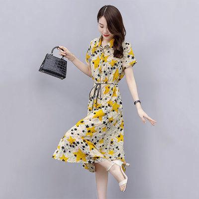 气质胖MM大码女装印花系带连衣裙2020夏季新款显瘦收腰衬衫长裙子