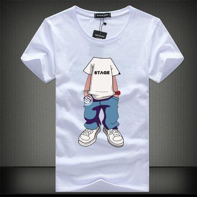 90-220斤男士短袖t恤夏季新款圆领衣服棉质大码白�B半袖体恤男装