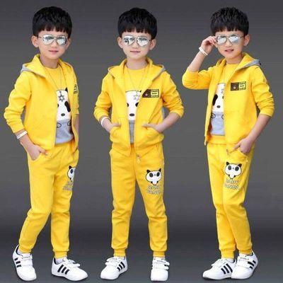 男童三件套2020新款男孩秋装时尚儿童帅气卫衣长袖长裤中大童套装