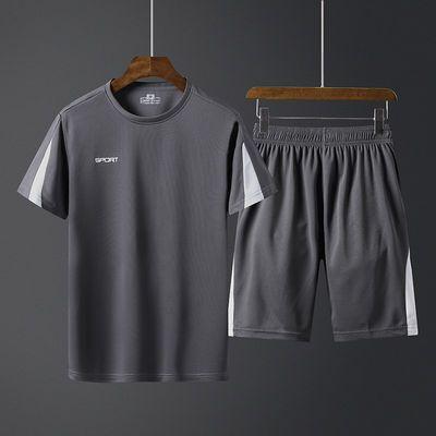 夏季冰丝夏天休闲套装男装爸爸T恤短袖短裤透气薄款中年人运动服