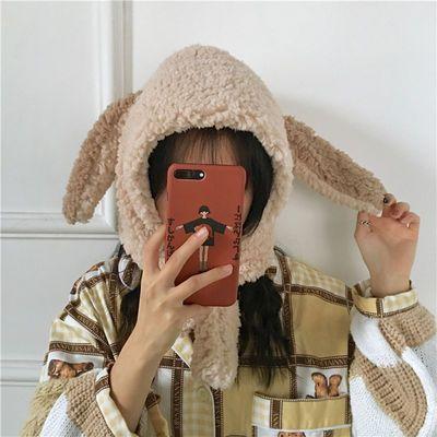 韩国ins秋冬季可爱小兔耳朵毛绒帽子围巾一体男女学生护耳帽保暖