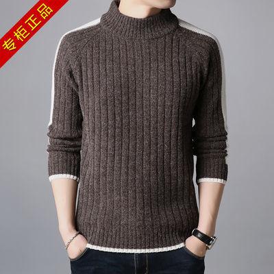 鄂尔多斯产羊毛衫男士加厚保暖毛衣男半高圆领毛线衣宽松打底衫