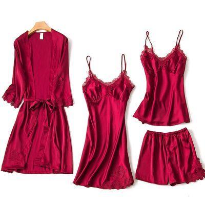 睡衣女夏秋薄五件套冰丝性感吊带带胸垫睡裙长袖睡袍外穿三四件套