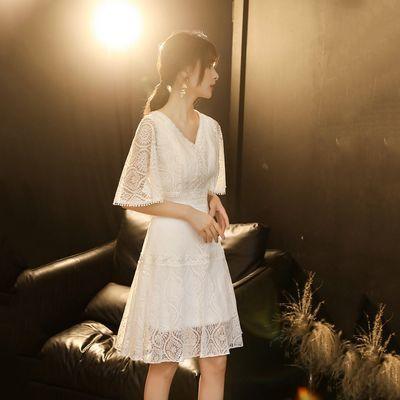 蕾丝白色小礼服少女风2020新款夏天显瘦中长款洋装连衣裙简单大方