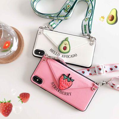 卡通草莓OPPOR17卡包手机壳R11SPLUS钱包式r15梦境K1防摔保护套女