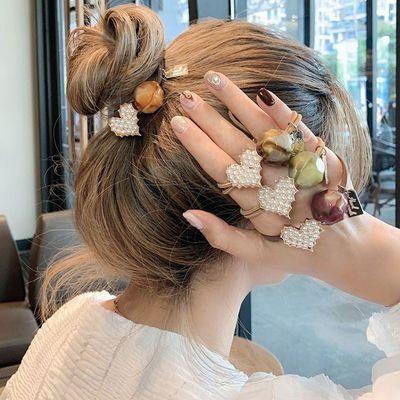 美皮筋发绳头饰可爱仿珍珠桃心头绳女简约韩版网红发圈韩国少女甜