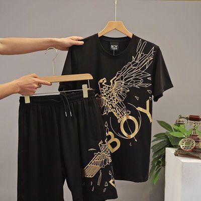 2020夏季新款潮牌BOY大老鹰印花短袖T恤男短裤女情侣时尚休闲套装