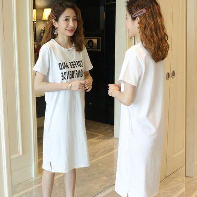 2020韩版夏季新款短袖大码女装中长款宽松字母印花开叉过膝连衣裙