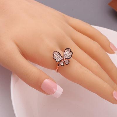 蝴蝶食指戒指女潮时尚个性简约韩版气质镶钻装饰品镀金黑边指环戒
