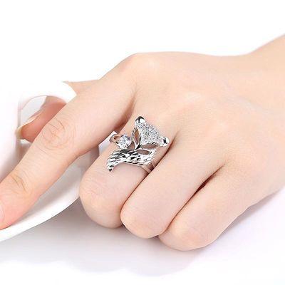 银戒指女925纯银大狐狸戒指女开口可调节食指无名指时尚网红戒指