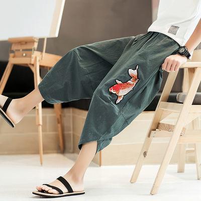 亚麻短裤男宽松中国风刺绣大码七分裤潮男阔腿哈伦裤沙滩裤灯笼裤