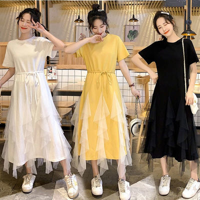 大码女装2020胖MM很仙的圆领不规则网纱拼接t恤连衣裙春夏款长裙