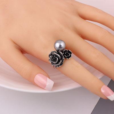 戒指女复古时尚食指潮饰品个性韩版夸张简约玫瑰花朵指环戒子欧美
