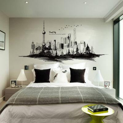 大型墙贴纸贴画城市建筑剪影墙壁纸装饰品自粘时尚简约海报纸ins