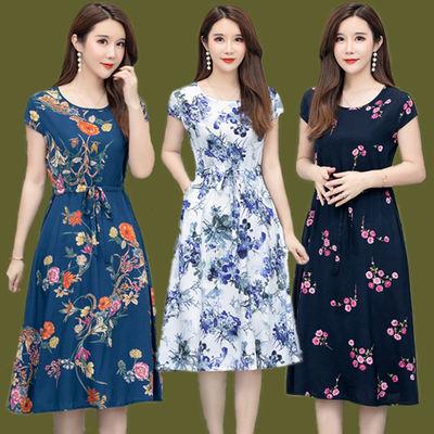 新款中老年女装夏棉绸连衣裙显瘦圆领短袖腰带裙大码沙滩人棉长裙